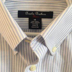 Brooks Brothers boys button down shirt striped 14